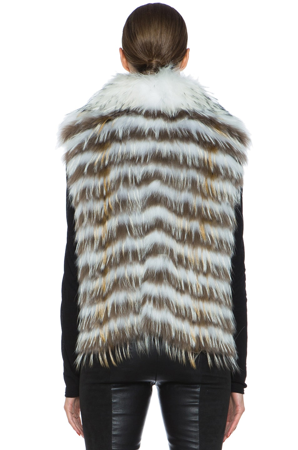 Image 5 of Yves Salomon Fur Vest with Popped Collar in Ivory