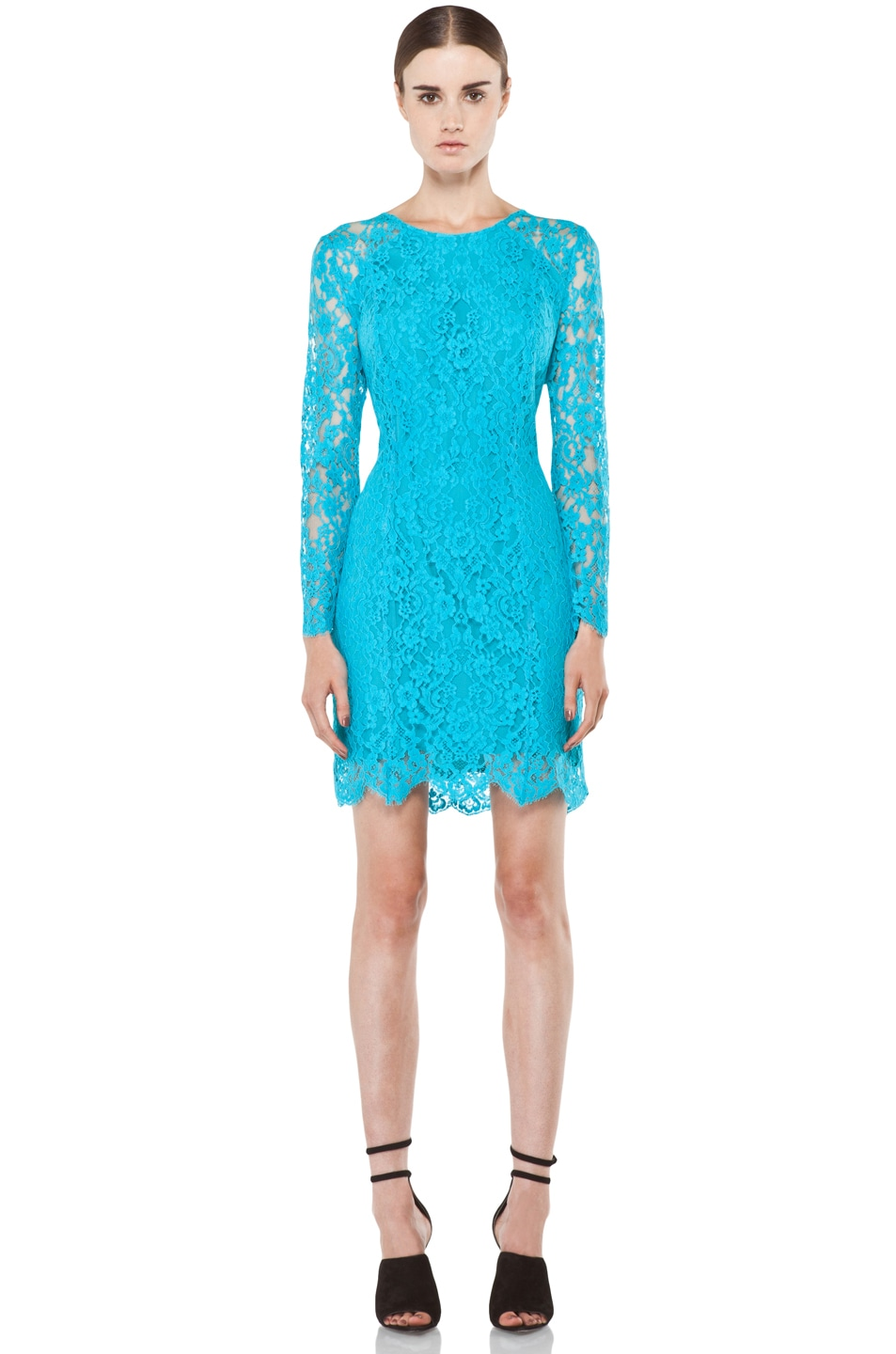 Image 1 of Zimmermann Flip Side Twisted Lace Dress in Lagoon