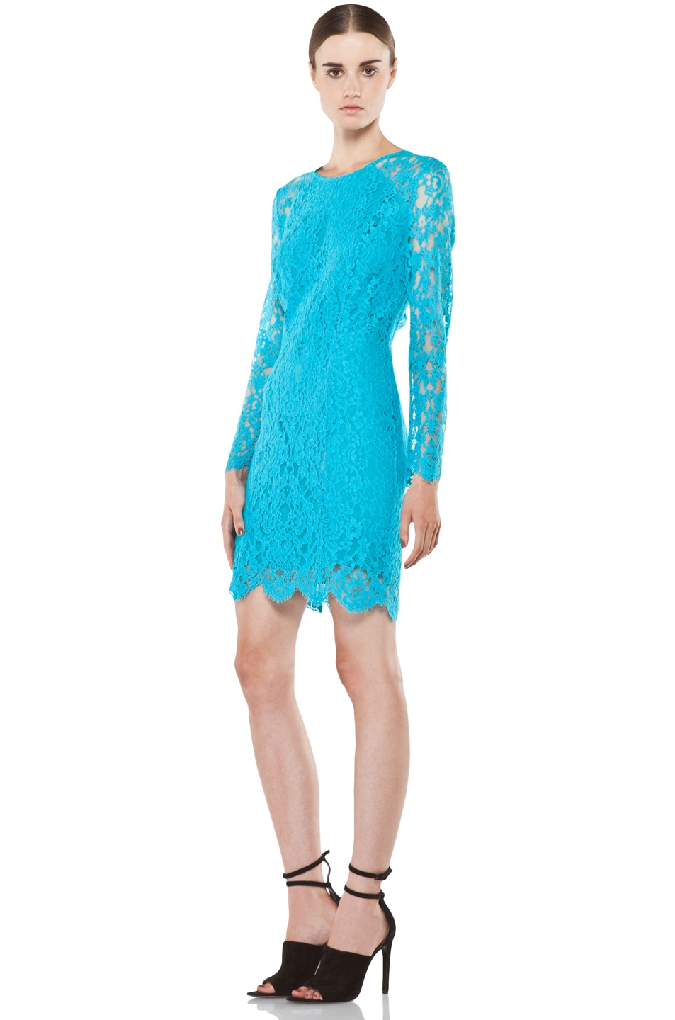 Image 2 of Zimmermann Flip Side Twisted Lace Dress in Lagoon