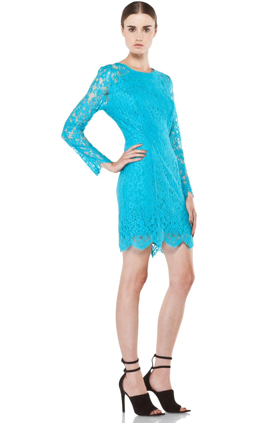 Image 3 of Zimmermann Flip Side Twisted Lace Dress in Lagoon