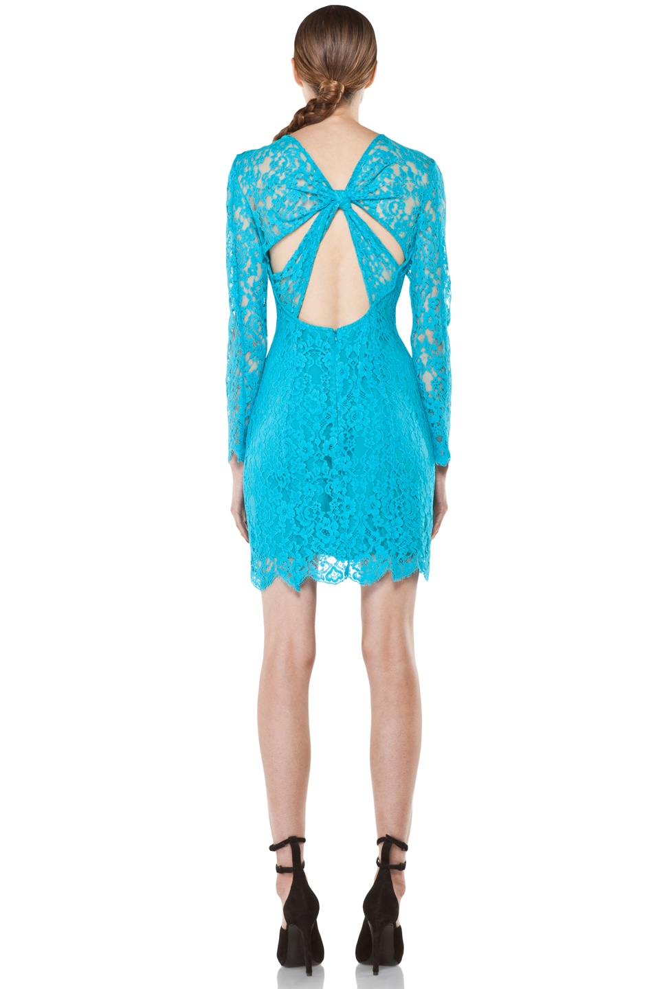 Image 4 of Zimmermann Flip Side Twisted Lace Dress in Lagoon