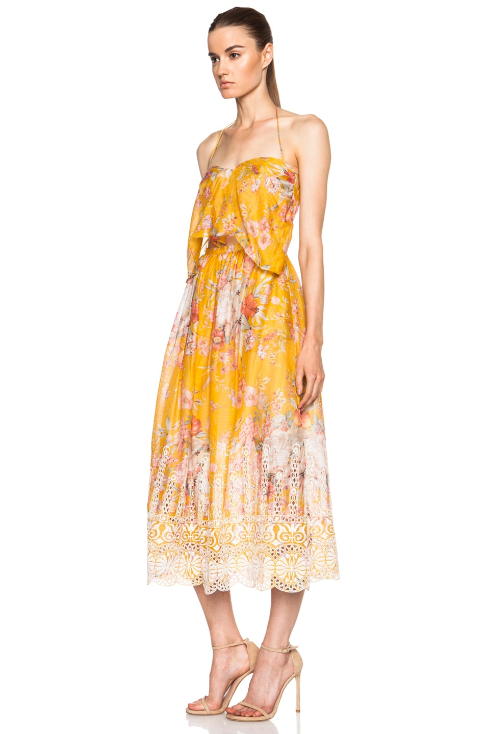 zimmermann confetti scallop cotton tie dress in mustard floral fwrd. Black Bedroom Furniture Sets. Home Design Ideas