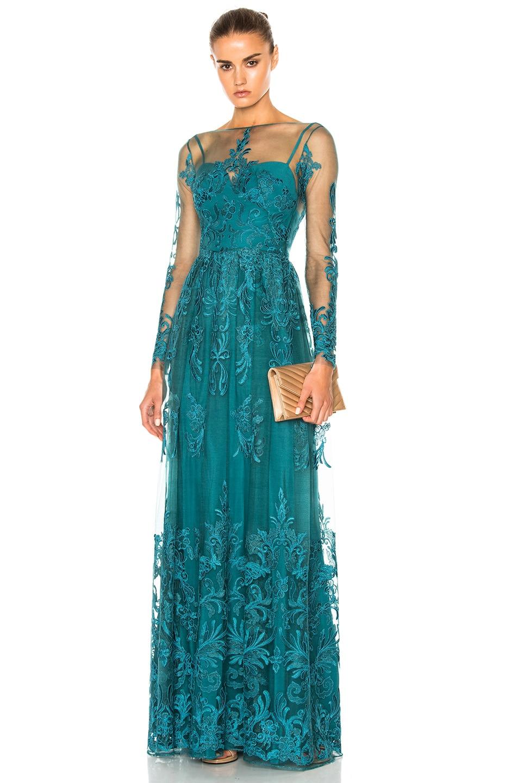 Image 1 of Zuhair Murad Embroidered Tulle Dress in Mediterranea