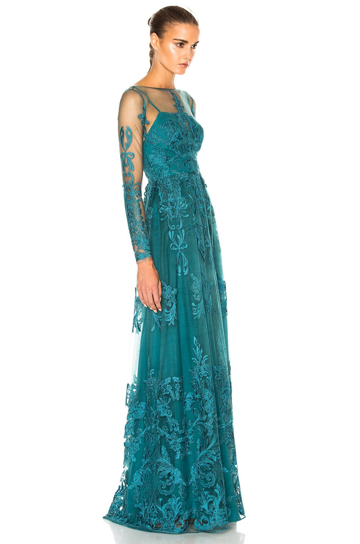 Image 3 of Zuhair Murad Embroidered Tulle Dress in Mediterranea