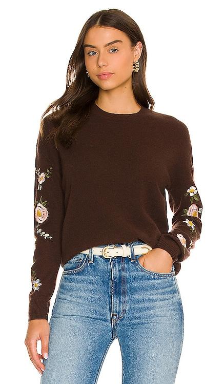 Kara Embroidered Floral Sweater 27 miles malibu $315 NEW
