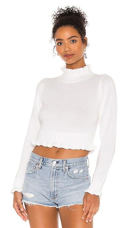 Cropped Ruffle Mock Neck Sweater 525 america $88