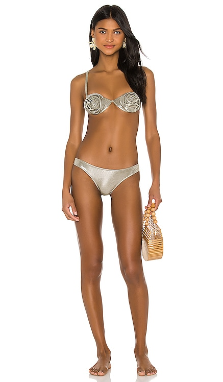 Metallic Flowers Bikini Set ADRIANA DEGREAS $181