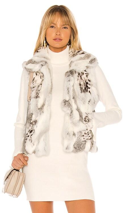 Printed Leopard Rabbit Fur Vest Adrienne Landau $166