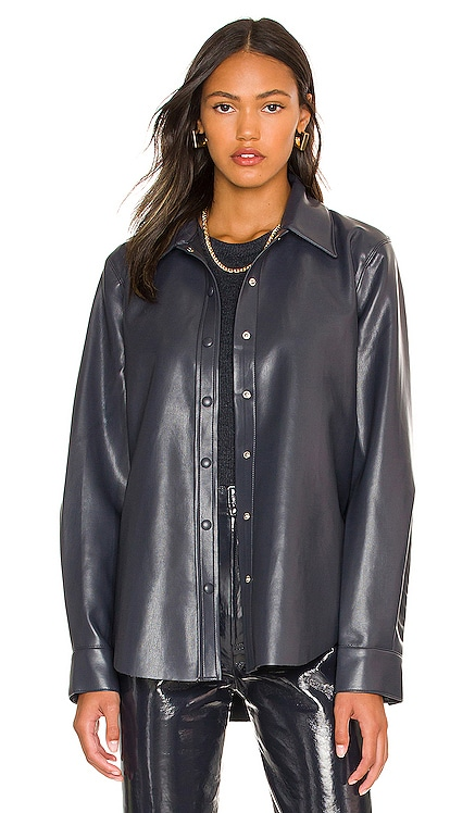 Calla Vegan Leather Shirt AGOLDE $275 NEW