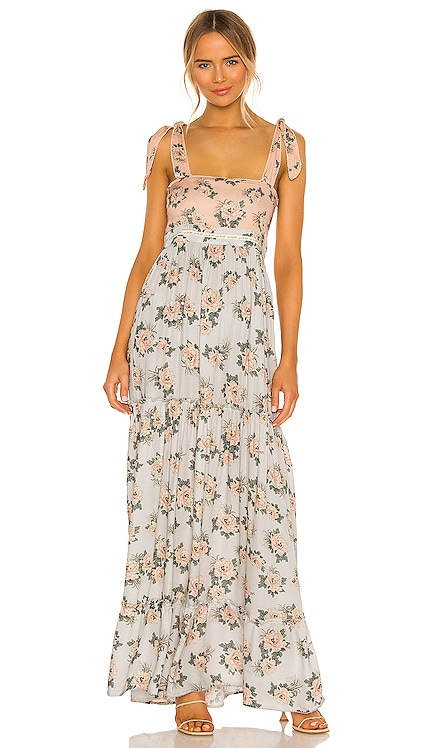 Helina Zola Maxi Dress Agua Bendita $240 NEW