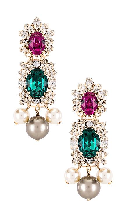 Crystal Cluster & Pearl Pendant Earring Anton Heunis $130