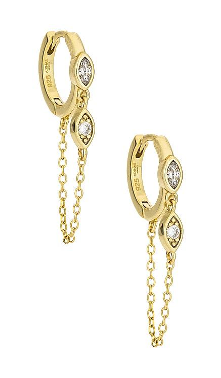 Bezel Evil Eye Chain Huggies Adina's Jewels $58 NEW