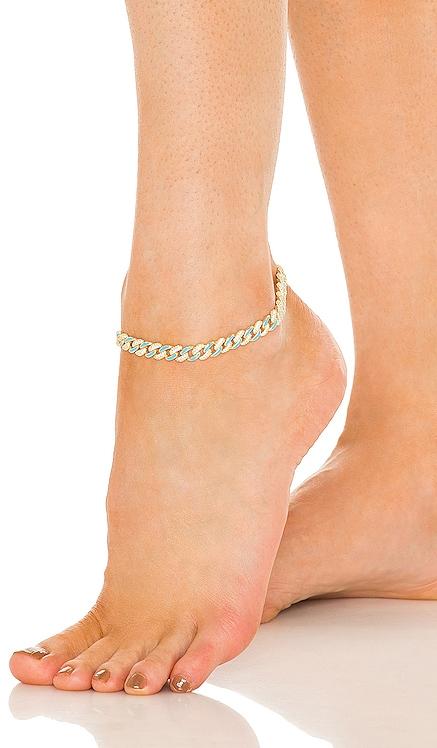 НОЖНОЙ БРАСЛЕТ PAVE NEON ENAMEL CHAIN LINK Adina's Jewels $150 НОВИНКИ