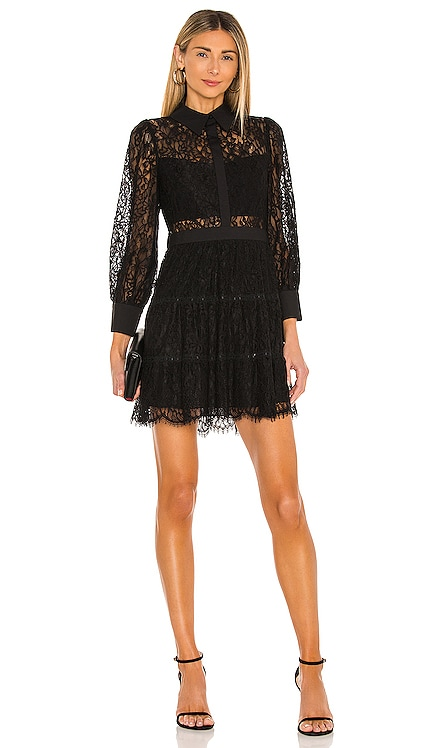 Anaya Collared Tiered Short Dress Alice + Olivia $550 BEST SELLER