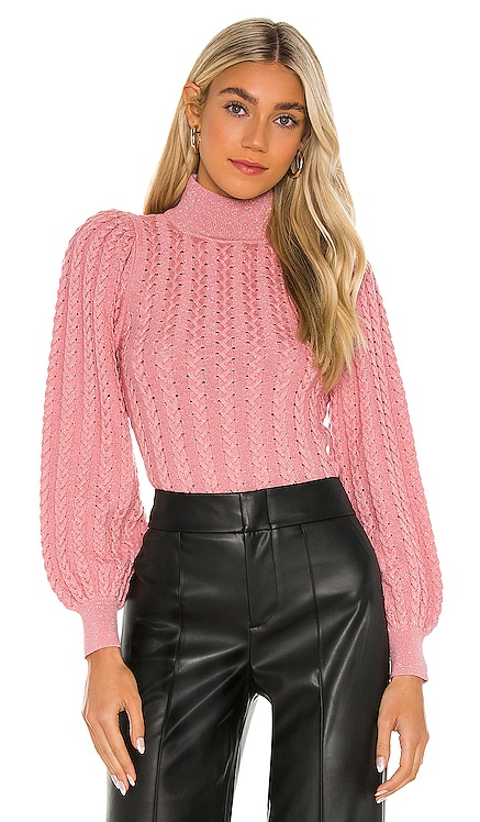 Esme Mock Neck Puff Sleeve Sweater Alice + Olivia $330 NEW