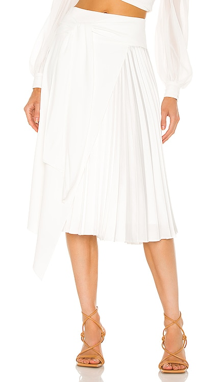 Zabana Asymmetrical Pleated Midi Skirt Alice + Olivia $375 NEW