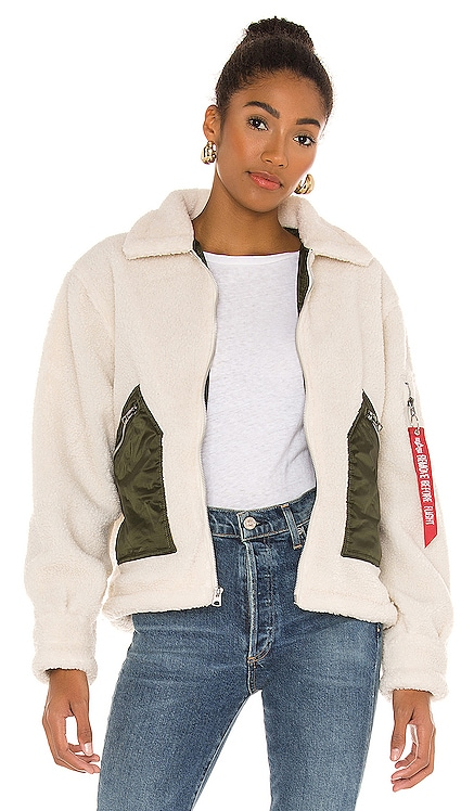 Cropped Sherpa Utility Jacket ALPHA INDUSTRIES $180