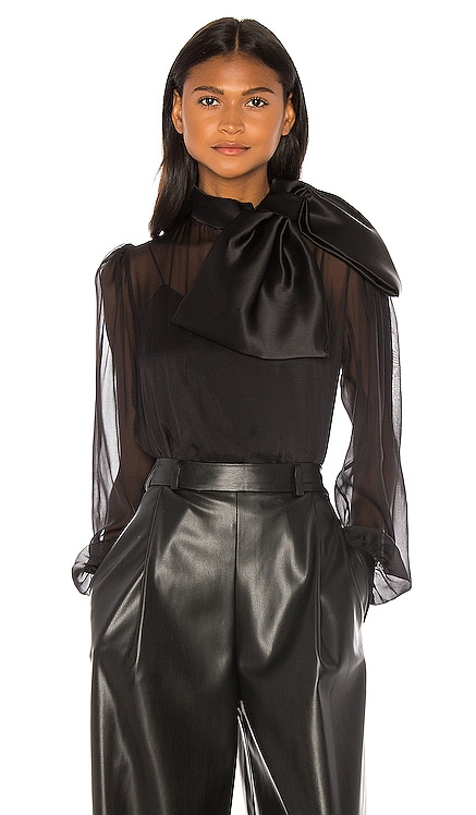 High Neck Drape Front Silk Bow Blouse ANOUKI $406