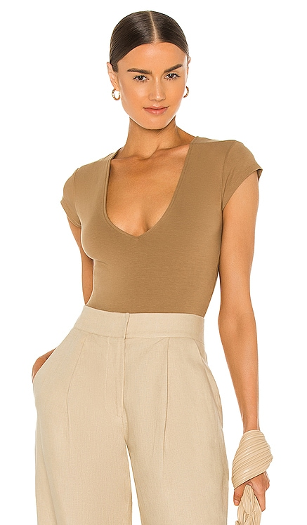Pima Cotton Deep V Neck Bodysuit ATM Anthony Thomas Melillo $175 NEW
