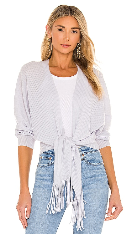Rib Fringed Tie Front Dolman Sweater Autumn Cashmere $310 NEW