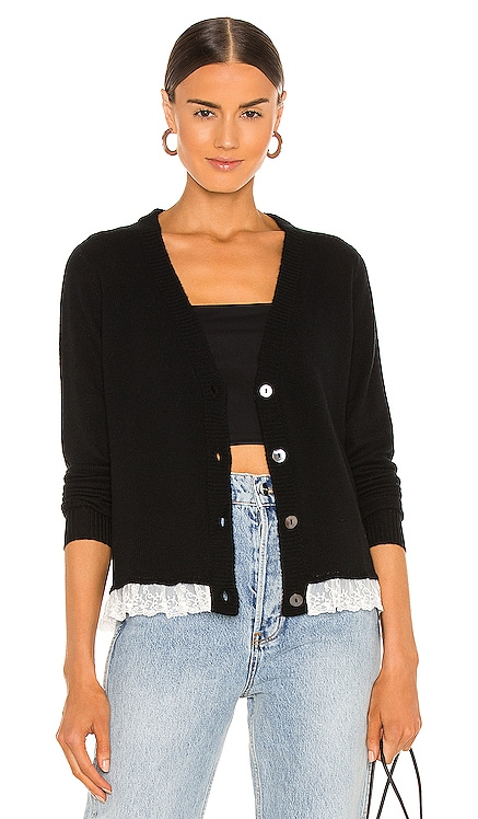 Lace Trimmed Loose GG Cardigan Autumn Cashmere $298 NEW