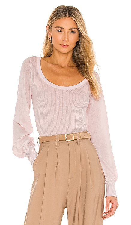 Rib Scoop With Sheer Bishop Sleeves Top Autumn Cashmere $175 NEW