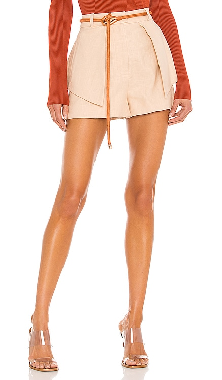 Tegan Linen Twill Shorts With Metal Detail Braided Rope Belt Alexis $299