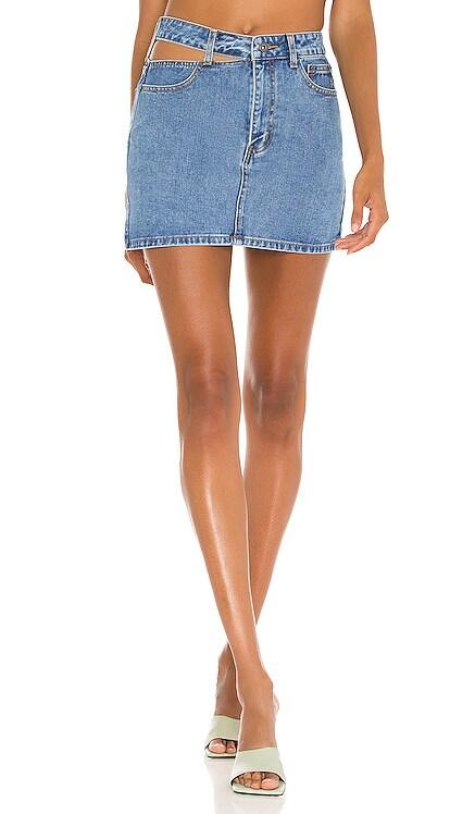 Cut Out Denim Skirt Bardot $89 NEW