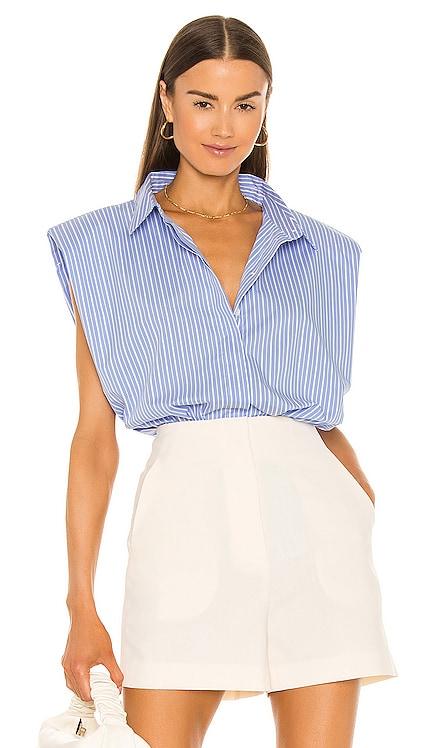 Stripe Shoulder Pad Shirt Bardot $89 NEW