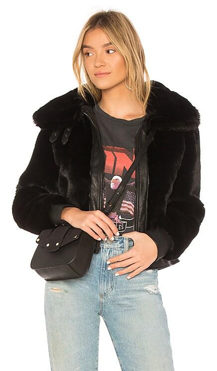 Black Noise Faux Fur Jacket BLANKNYC $136