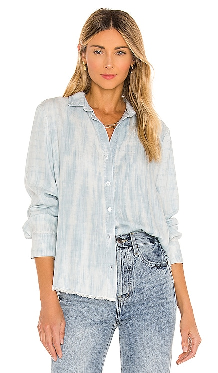 Fray Hem Flowy Button Down Top Bella Dahl $174 NEW