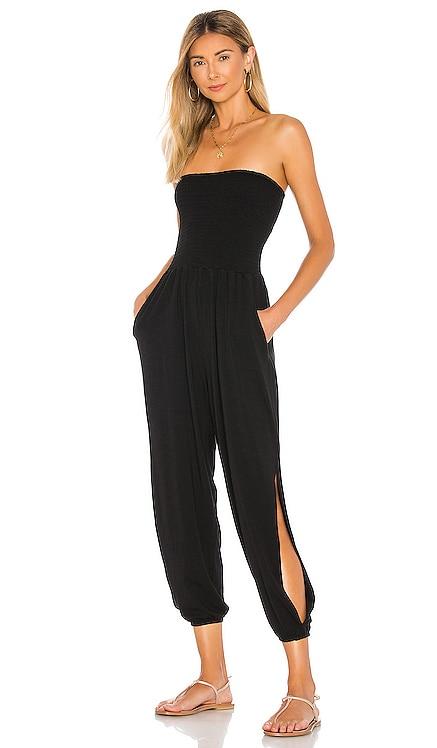 Draped Modal Jersey Strapless Harem Jumpsuit Bobi $128