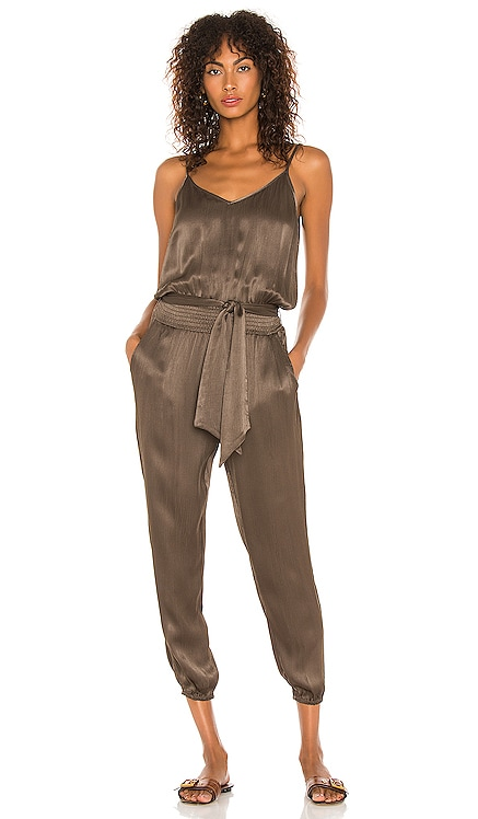 BLACK Sleek Textured Woven Jumpsuit Bobi $150