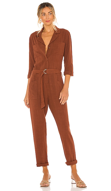 BLACK Indio Linen Jumpsuit Bobi $123