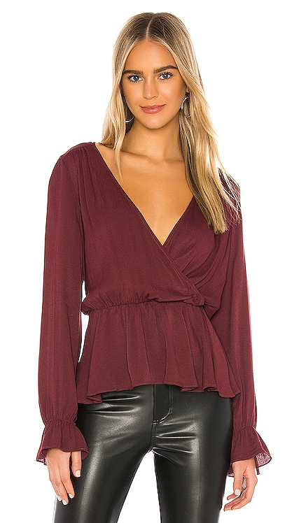 BLACK Textured Viscose Peplum Blouse Bobi $52
