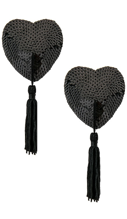 Black Sequin Hearts With Black Tassels Bristols6 $25 (FINAL SALE)