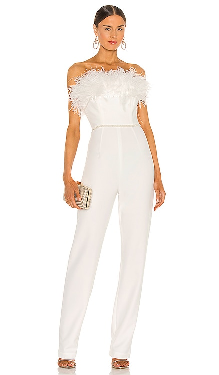 Lola Blanc Feather Jumpsuit Bronx and Banco $635