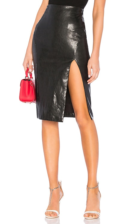 Jezabel Faux Leather Midi Skirt superdown $58 BEST SELLER