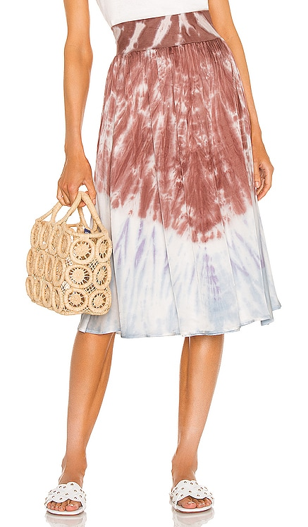 Stretch Silky Basics Rib Waist Faux Wrap Midi Skirt Chaser $108 NEW