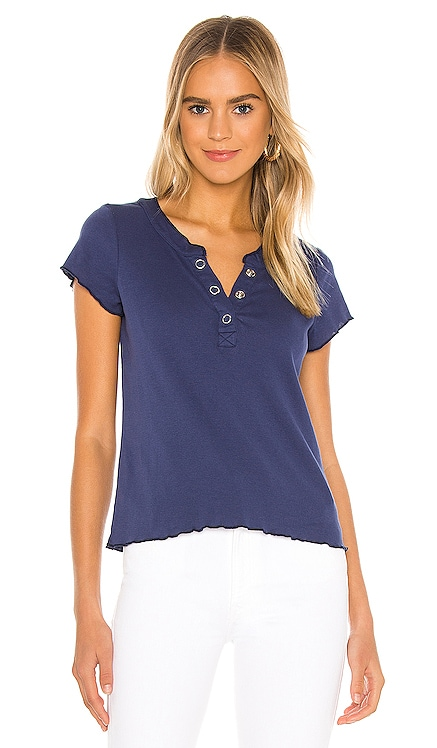 Baby Rib Short Sleeve Cropped Henley Tee Chaser $57 BEST SELLER