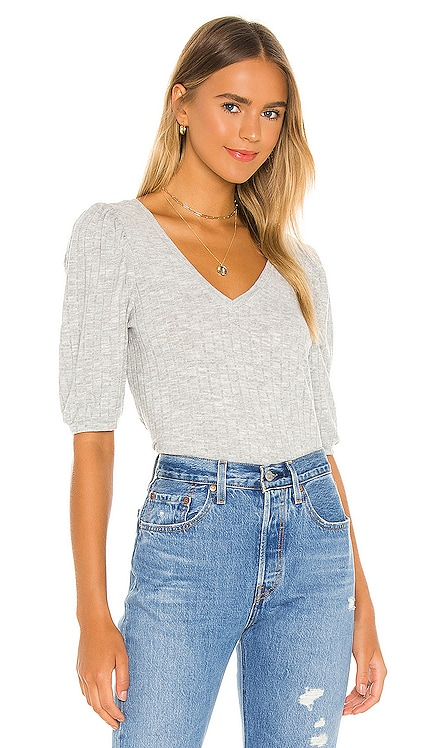 Cropped 3/4 Puff Sleeve V Neck Top Chaser $64