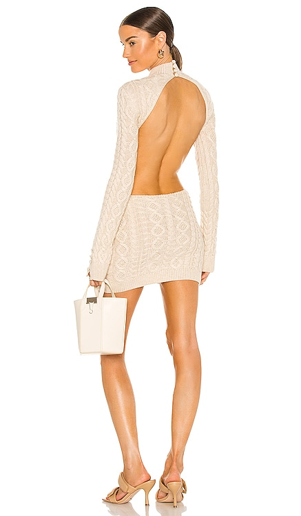 Cable Knit Backless Turtleneck Dress DANIELLE GUIZIO $388 NEW