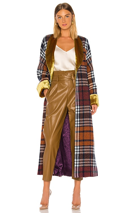 Plaid and Yellow Velvet Cloak Divine Heritage $390