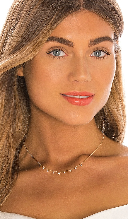 14k Diamond Bezel & Pearl Necklace EF COLLECTION $975 BEST SELLER