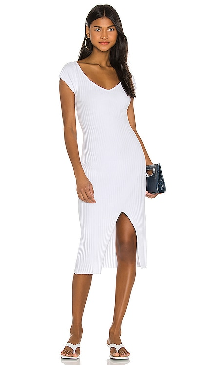 Rib Sweater Knit Soft V Cap Sleeve Midi Dress Enza Costa $198