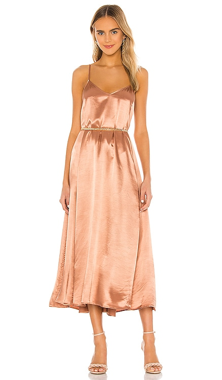 Satin Strappy Ankle Length Dress Enza Costa $275
