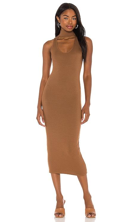 Silk Rib Detached Mockneck Sleeveless Midi Dress Enza Costa $130