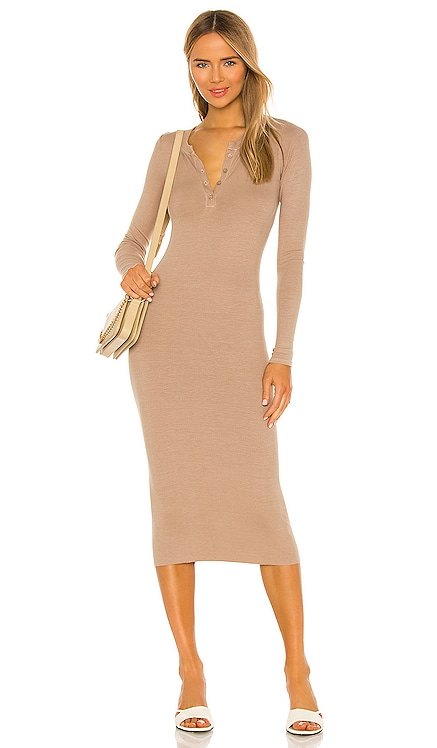 X REVOLVE Long Sleeve Henley Midi Dress Enza Costa $225 NEW