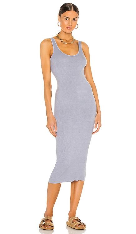 Silk Rib Tank Midi Dress Enza Costa $158 NEW