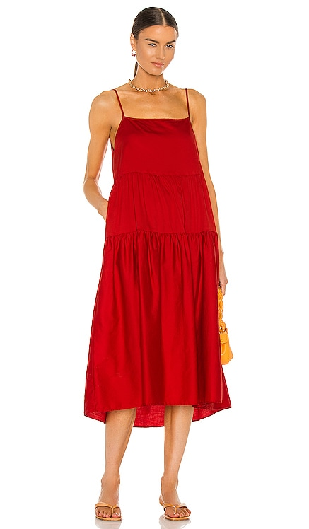 Cotton Strappy Tiered Dress Enza Costa $264 NEW